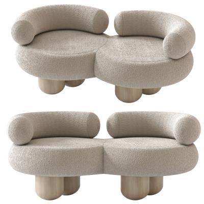 现代绒布双人沙发 可爱创意沙发