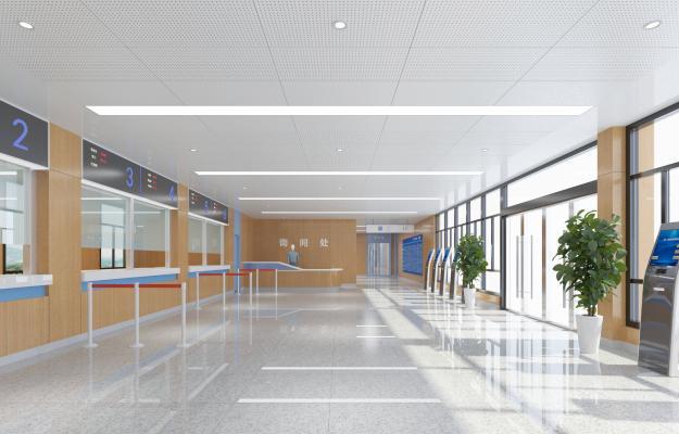 现代医院大厅 咨询台 自助机