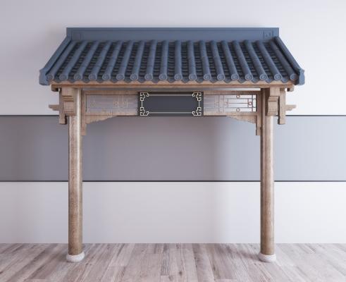 新中式屋顶屋檐门头