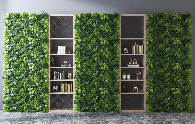 现代装饰柜 植物墙 书柜