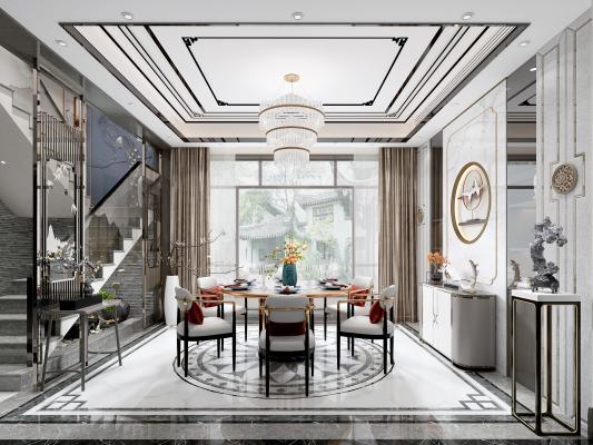 新中式餐厅 吊灯 装饰柜
