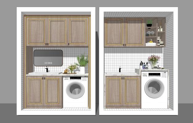 新中式风格家居阳台 阳台柜 洗手台洗衣机组合