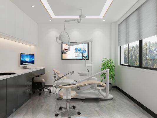 现代口腔医院 挂画 前台