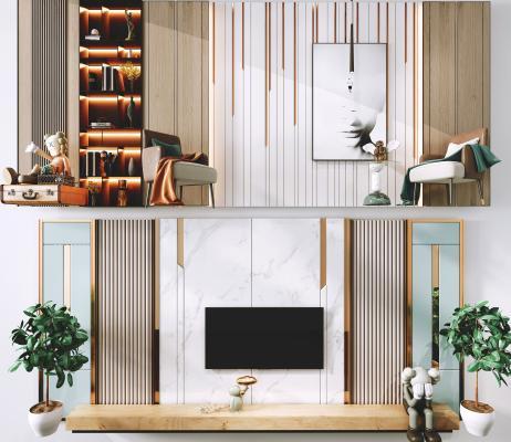 现代电视背景墙 沙发背景墙 电视柜