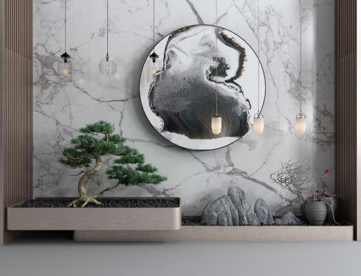 新中式景观小品松树