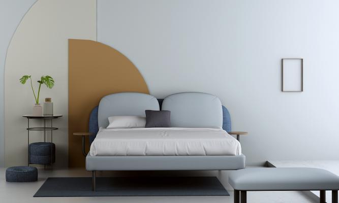 北欧双人床 背景墙 盆栽