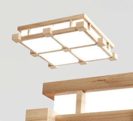 日式木质吸顶灯