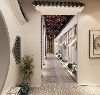 新中式走廊 茶市 休闲区