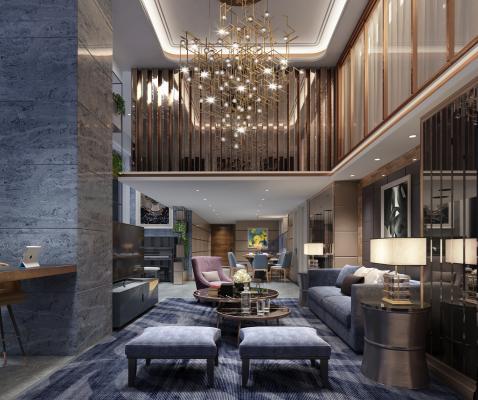 现代客厅 沙发 边几 台灯