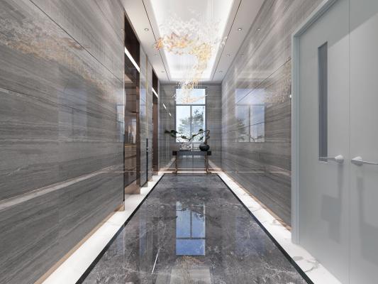 新中式风格电梯间 条几 电梯套