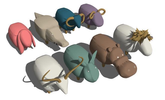 现代动物 凳子 矮凳组合