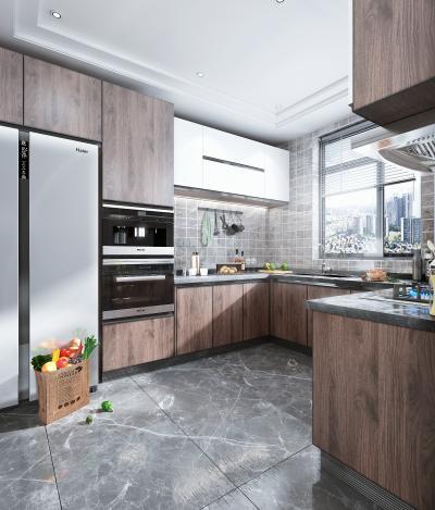 现代风格厨房橱柜 蒸烤箱 烟机灶具