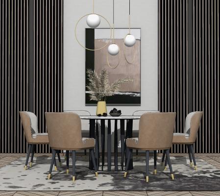 现代餐桌椅组合 装饰画 吊灯