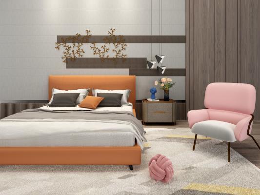 现代双人床 单椅 床头柜