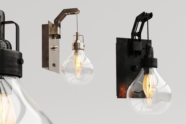 现代金属玻璃壁灯