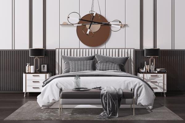 新中式双人床组合 床头柜 艺术吊灯