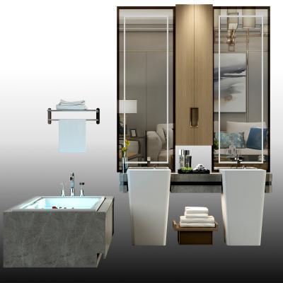 现代浴缸 洗手台 洗面盆
