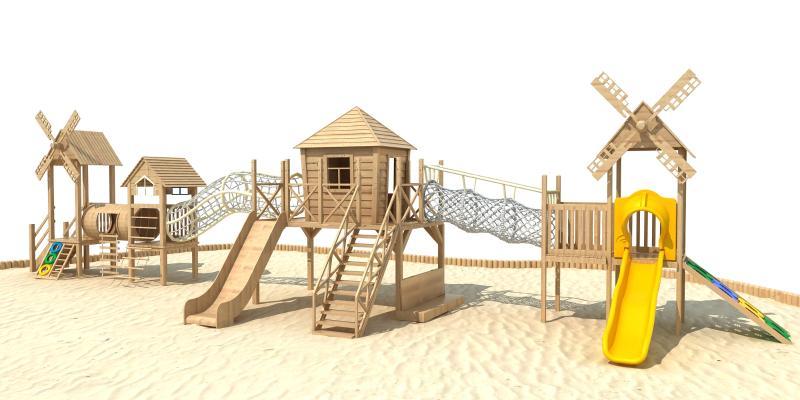 现代木质滑梯
