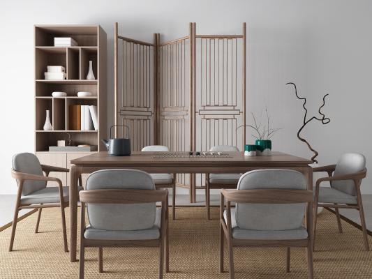 新中式茶桌椅 地毯 隔断