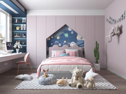 现代卧室 女孩房 墙饰 床