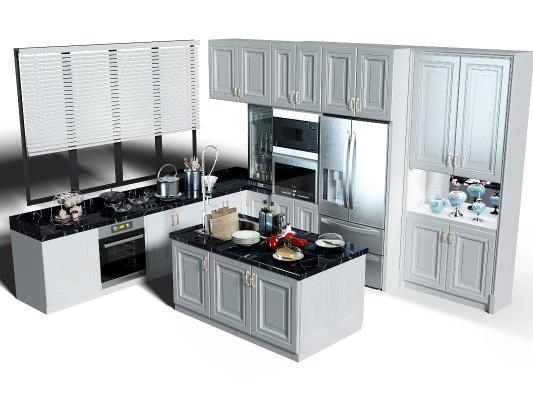 歐式簡約廚房櫥柜 廚具 窗戶