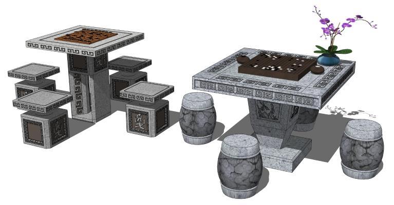 中式餐桌椅 石头桌 石头桌凳