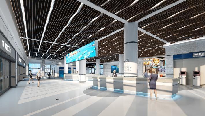 现代机场服务大厅游客接待中心