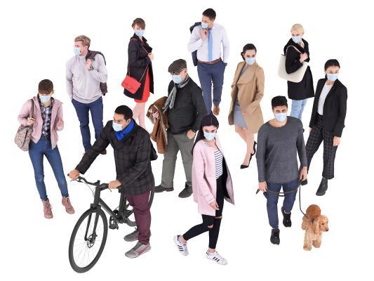 现代戴口罩人物 男女 多人