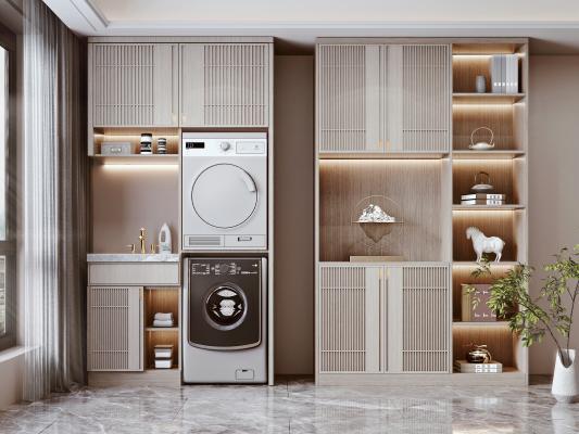 新中式洗衣机柜 阳台柜 洗衣机