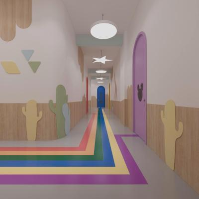 现代幼儿园彩虹过道
