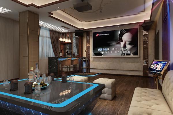 新中式ktv k歌包间 吊灯酒柜吧台吧椅话筒立麦沙发投影仪软包点歌屏幕音箱