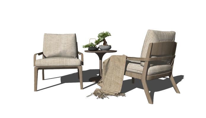 新中式单人沙发 休闲椅 茶几