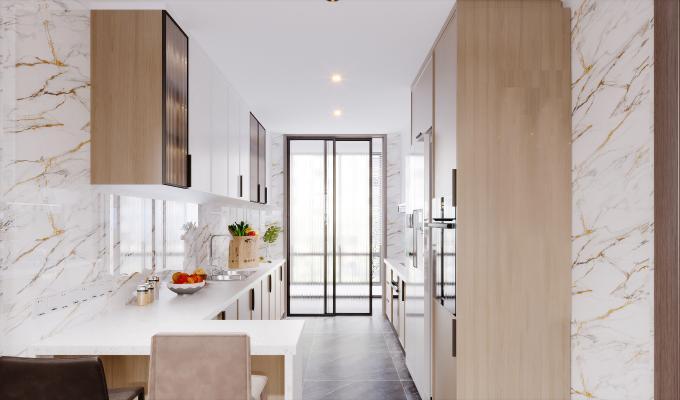 現代風格廚房 櫥柜 烤箱 冰箱 吧凳 吧臺 移門