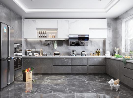 现代风厨房橱柜 厨房电器 装饰品