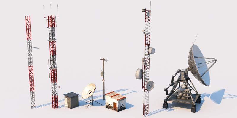 现代工业设备 信号塔 发电设备