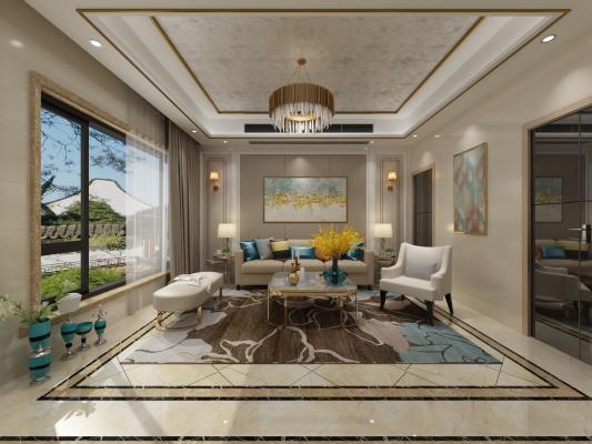 后现代别墅客厅 沙发 茶几 吊灯