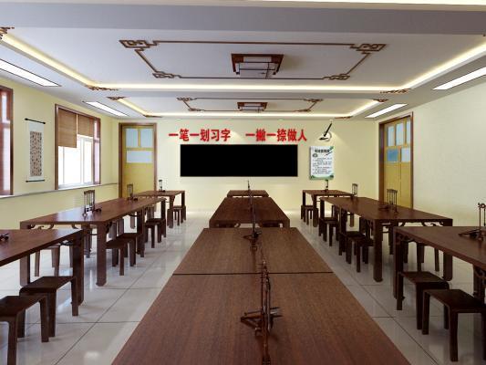 新中式学校 书法室