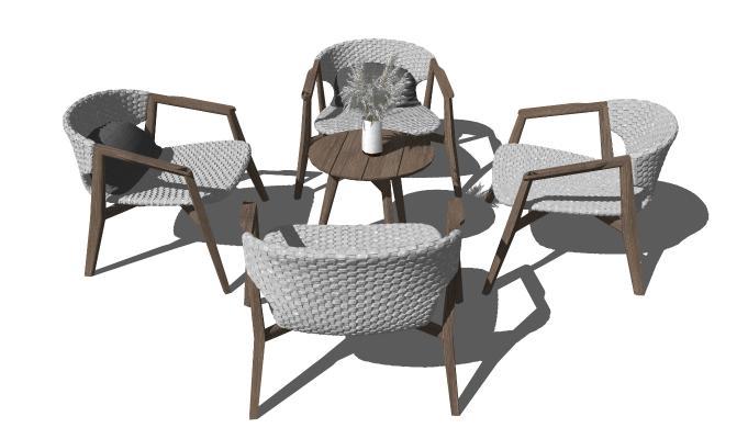 现代休闲桌椅 户外椅 编织休闲椅