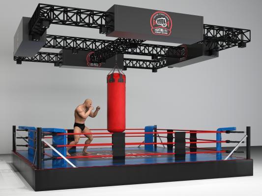 现代风格拳击台 健身器材 体育设施
