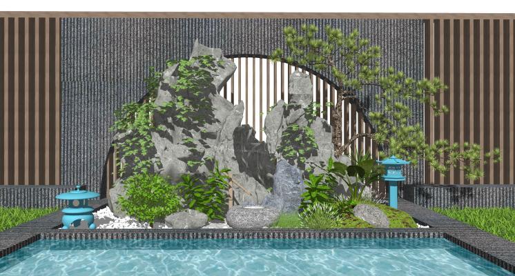 新中式假山水景 石头 庭院景观