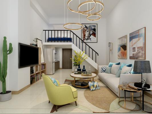 现代风格复式客厅 沙发组合 挂画
