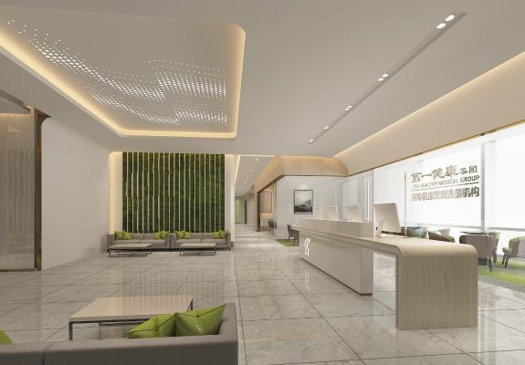 现代医院 接待大厅 挂画 前台