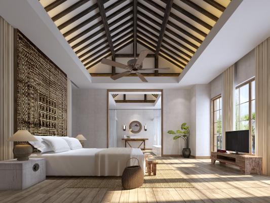 东南亚风格卧室 床 吊灯