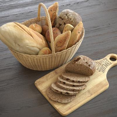 现代食物 面包 篮子 菜板