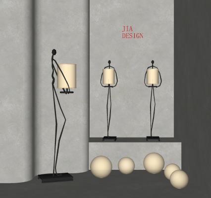 现代抽象人物落地灯