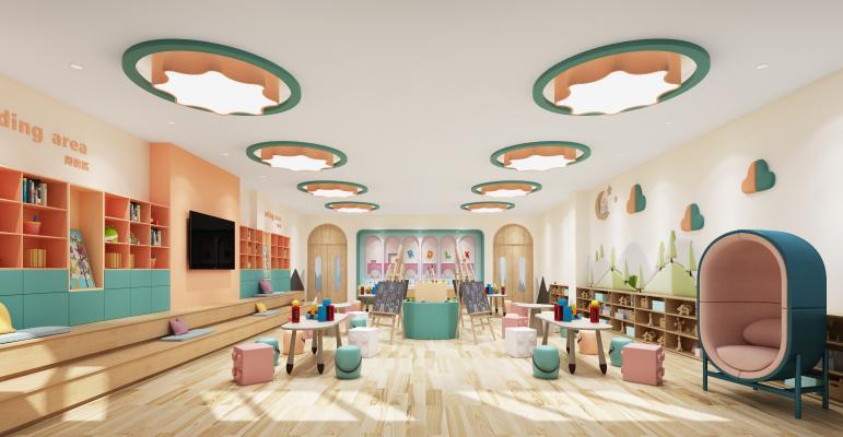 现代风格幼儿园美术室 幼儿园 课室