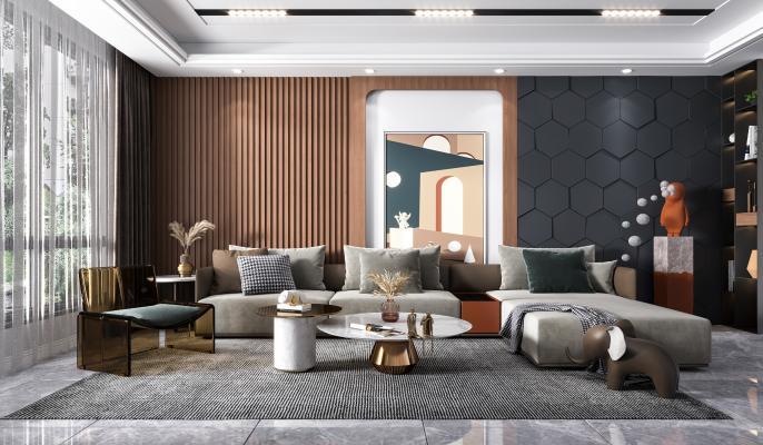 现代客厅 沙发 茶几 休闲椅
