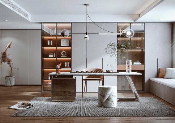 现代风格书房 书桌 书柜