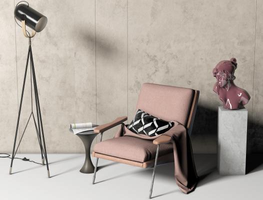 现代布艺单椅 边几 洽谈椅