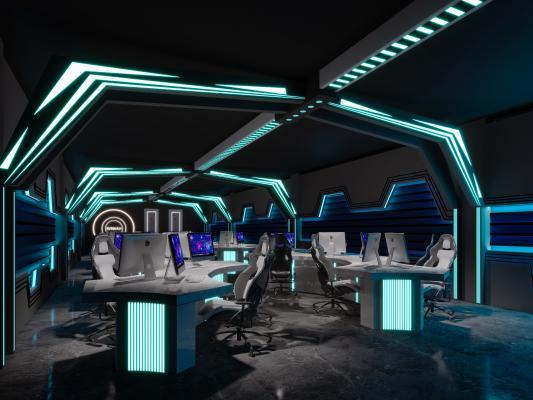现代科技网咖电竞 网咖 电竞 游戏桌 太空船 霓虹灯 科技桌子 电脑